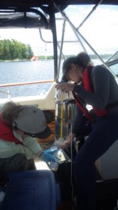 Severn Sound Environmental Association field crew sampling bottom water chemistry in North Bay, Honey Harbour.