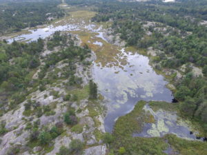 Drone photo of the Key River. Credit: Eastern Georgian Bay Stewardship Council