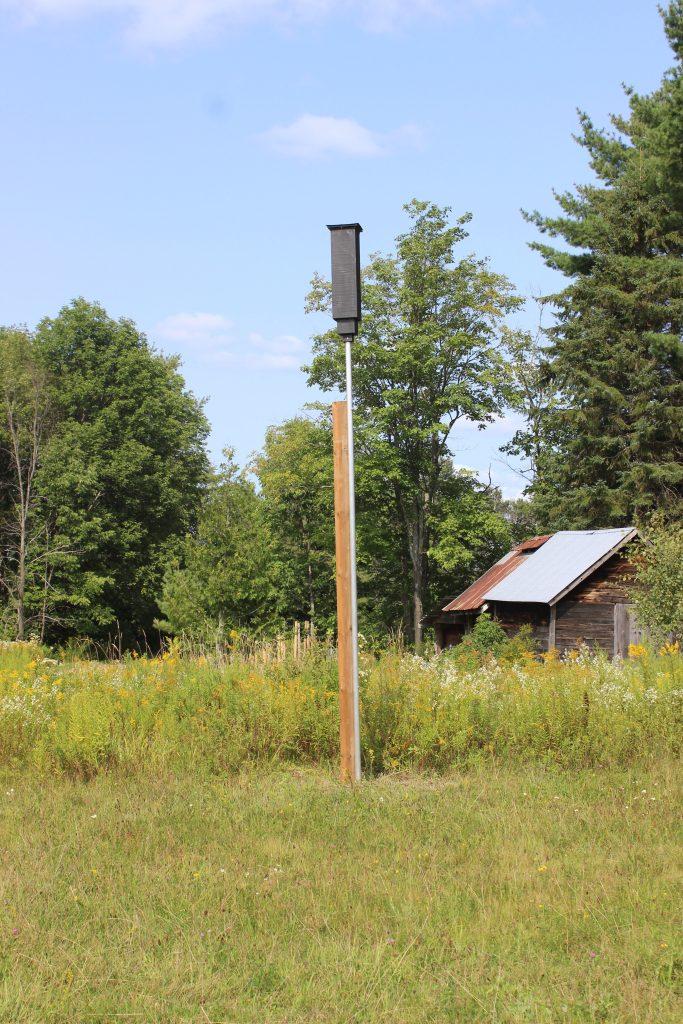 Two-chamber rocket box bat house.